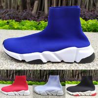 производитель обуви высокого качества оптовых-Luxury Speed Trainer High Sock Shoes 2019 Модные Девушки Лучшее Качество черный белый синий Мужчины Женщины Повседневная Обувь дизайнер кроссовки 36-45