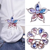 Wholesale purple crystal flower brooch pin for sale - Group buy Crystal Brooch Pins Women Purple Flower Broches stainless steel Jewelry Fashion Wedding Party Brooch Fashion Jewelry