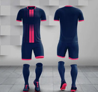 Wholesale team soccer jersey set resale online - Adult kit Customized your team Logo Blank Soccer Jerseys set Uniform Camisetas de Futbol with Shorts Football Shirts