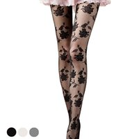 модные колготки девушки оптовых-New Women Fashion Rose Pattern stockings sexy tights for girls Lace Pantyhose Sexy See-through funny female stockings high thigh