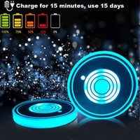 Wholesale multi cup holder for sale - Group buy Multi color LED Car Cup Holder Coaster Color Changing USB Charging Mat Luminescent Cup Pad Interior Atmosphere Lamp