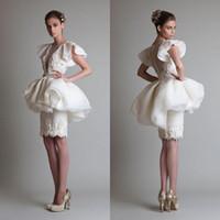 ingrosso abiti in organza bianca a ginocchio-2020 abiti da sposa bianco guaina collo appliques lunghezza del ginocchio organza oversize gonna abito da sposa abito da spettacolo