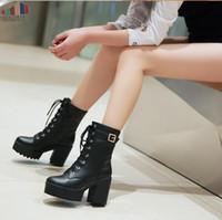 bottes lacées à boucle noire achat en gros de-Printemps Automne Mode Femmes Bottes Talons Plateforme Boucle À Lacets En Cuir Bottillons Noirs Noir Dames Chaussures Promotion