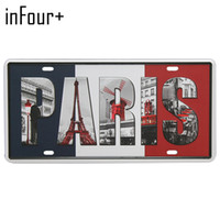 letreiros paris tin venda por atacado-[Em mais quatro +] França PARIS Placa Placa de metal Número Car Tin Sign Bar Pub Cafe Home Decor metal Garage Sign Pintura Plaques Signs