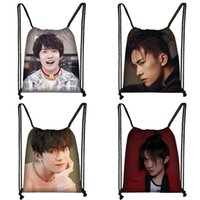 Wholesale chinese red white blue bag for sale - Group buy Jackson Yee Chinese Idol D Drawstring Bag Large Capacity Storage Bags Children School Backpack Unisex Strrtwear Travel Bags