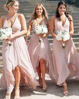 Wholesale blush ruched prom dress resale online - 2020 Cheap Blush Pink Halter Chiffon Beach Bridesmaid Dresses Elagant Hi Lo Maid Of Honor Gown Long Formal Prom Evening Dresses BM1559