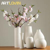 простая белая ваза оптовых-Classic White Ceramic Vase Chinese Porcelain Vases modern simple design for artificial flower home decoration accessories