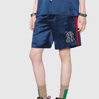 шелковые атласные штаны оптовых-19SS NY Шелковый Sweatshort Атласные Классические Шорты Улица Скейтборд Хип-Хоп Мода Повседневная Открытый Шорты Летние Брюки Made in Italy