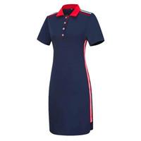 short sleeve polo shirt оптовых-Женщины плюс размер с короткими рукавами футболки поло топ в полоску Bodycon Midi платье карандаша Y190425