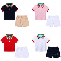 Wholesale white polo outfit resale online - Summer Kids Clothing Rainbow Collar Polo Shirt Short Pants Suit Boy Clothing Sets Outfits T shirt Shorts Set Tracksuits Clothes CZ326