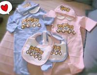 brauner spandex-bodysuit großhandel-Infant Cartoon Baby Kleidung Jumper Overall Mädchen Jungen Langarm Babyspielanzug Designer Neugeborenen Strampler + Hut + Bib Set