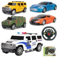 coches de la policía a distancia al por mayor-Fun Remote Control 4CH RC Car Electric Toys Happy kids Toys Party Radio Racing Coches controlados 4 canales Vehículo SUV Police Tank Army Cars