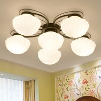 ingrosso tonalità di lampade da soffitto in vetro d'epoca-Lampada da soffitto vintage in vetro metallo paralume apparecchio camera da letto tavolo da pranzo lampada a sospensione lampadari americani Lampadina a LED