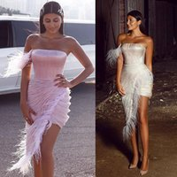 Wholesale evening dresses feathers mini resale online - One Shoulder Mini Prom Dresses With Feather Strapsless Ruched Satin Short Party Gowns Knee Length Formal Evening Wear