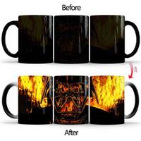 tazas de cafe de ceramica negra al por mayor-Samurai Negro Guerra Nueva Sta Taza decoloración calor de cerámica sensible taza de café de desayuno envío Copa