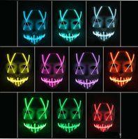 sinais de corda led venda por atacado-Brinquedo Máscara LED Máscara Engraçada Levou tira Flexível sinal de néon Luz Fulgor Corda de Fio EL Luz Neon Controlador de face de Halloween luzes de natal