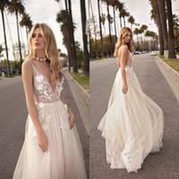 Wholesale bling sexy wedding dresses resale online - 2019 Berta Boho Beach Bridal Gowns Wedding Dresses Deep V Neck Bling Sequins Beading Sexy Backless Wedding Dress Feather Custom Made