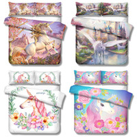 Wholesale 3d floral bedding set resale online - Floral Unicorn Bedding Sets D printed Duvet Cover Cartoon Bedclothes quilt Cover with Pillowcase for Kids Princess Room US AU EU size