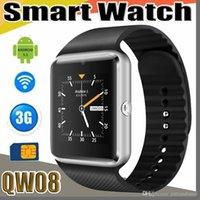 dual core telefon 4gb großhandel-QW08 GT08-PLUS 3G Wifi Armbanduhr Smart Watch Phone Android 4.4 1.56 Zoll MTK6572 1.2GHz Dual Core 512MB RAM 4GB ROM Bluetooth SmartWatch