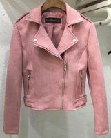 Wholesale pink jackets outfits for sale - Group buy 2019 Spring Women Faxu Suede Leather Biker Jackets Long Sleeve Zipper Suede Coat Streetwear Spring Outfit Pink Red Gray Brown Y190920