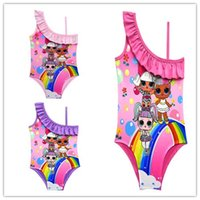 Wholesale girl swimsuits resale online - new Cartoon Dolls Swimsuit Baby Girls Swimwear Summer Ruffle Bow Swimming Suit Kids Designer One Piece Beach Clothing cm zx