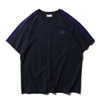 siyah beyaz çizgili tişört kadın toptan satış-2019 Yeni Awge T-Shirt Kadın Erkek 1: 1 Kelebek Nakış Çizgili Awge En Tee Moda Siyah Gri Mavi Beyaz Awge T Shirt