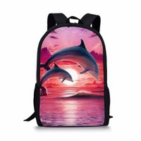 Wholesale backpack patterns for kids resale online - THIKIN Pink Cartoon Dolphin Print Backpacks for Teenage Girls Animal Pattern Bookpack For Kids Women Daily High Quality
