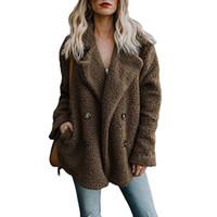 меховые перемычки оптовых-Женские лацкане куртки зимнее пальто женщин полушерстяные кардиганы пальто теплый джемпер флис искусственного меха плюшевые пальто толстовка плюс размер