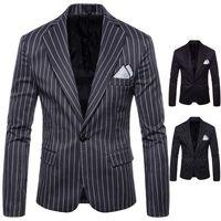 einzigartige blazer groihandel-M-4XL Frühling Herbst Striped Design Blazer einzigartige Herren Blazer Herren Blazer Jacke Slim Fit Jaqueta Mode Anzug Männer Mäntel Casual J181114