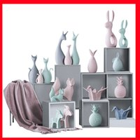 lapins blancs en céramique achat en gros de-2019 Simple Moderne En Céramique Figurines Salon Ornement encre Blanc En Céramique Cerf Lapin Figurines Décoration De La Maison Artisanat Salon Bureau