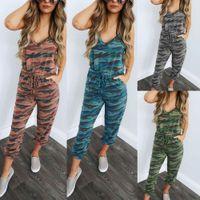 camo pantolon boyutu 28 toptan satış-Yeni Yaz Moda Bayan Bayanlar Strappy Kamuflaj Camo Tulum Tulum Pantolon Tulum Pantolon Boyut S-XL