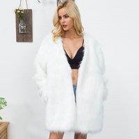 faux pelzart großhandel-Frauen Lange Stil Faux Pelzmantel Winter Dicke Warme Pelzjacken Mantel Flauschigen Elegante Künstliche Outwear Mantel Plus Größe 3XL