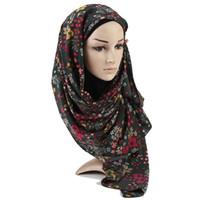 Wholesale turban headband hijab resale online - Trees Printe Heavy bubble chiffon hijab scarf flower shawls muslim scarves headscarf wraps Turbans headband long scarves women