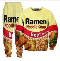 Wholesale food flavor resale online - Beef Flavor Ramen Food D All Over Print Tracksuits Sweatshirts Hipster Casual Drawstring Pants Sportwear Women Men A04