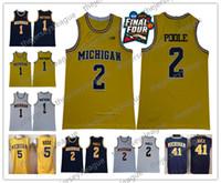 patchs de maillots de basket achat en gros de-Wolverines du Michigan # 2 Poole Matthews Webber Rose Howard Rice cousu jaune blanc bleu marine Maillot de basketball NCAA Final Four Patch