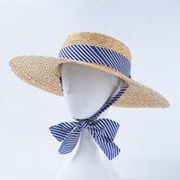 weibliche kirchenhüte groihandel-Blauer Streifen Sonnenhüte Women Fashion Flat Hat Travel Resort Beach Kappen Weibliche Garden Church Caps Straße Cap
