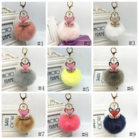 Wholesale animal pendent jewelry for sale - Group buy Fox Fur Keychain Charms Crystal Fox Head Key Ring Fluffy Faux Fur Pom Pom Keychains Bag Car Pendent Fashion Jewelry GGA2756
