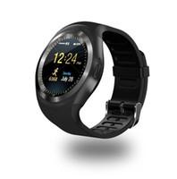 tarjetas de visita redondas al por mayor-Y1 Smart Watchs Round Support Tarjeta Nano SIM TF con Whatsapp y Facebook Hombres Mujeres Business Smartwatch para teléfono Android (minorista)