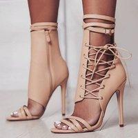 calcanhares de sandálias de atadura venda por atacado-New Gladiator Sandálias Mulheres Sandália Botas de Verão Sexy de Salto Alto Cruz Bandage Zipper Senhoras Sapatos Sandalias Mujer 2019 XKD4175
