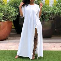 maxi camiseta larga al por mayor-Vestido de camiseta blanca para mujer de gran tamaño Loose Street Fashion Lace Up Simple Plus Size Maxi Ladies African Long Dresses Casual Summer