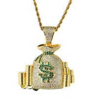 алмазные монеты оптовых-хип-хоп мешок денег алмазы кулон ожерелья для мужчин женщин кошелек кошелек монеты роскошные ожерелье ювелирные изделия позолоченные медные Цирконы кубинская цепь
