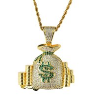 18k gold geldbörse großhandel-hip hop geld tasche diamanten anhänger halsketten für männer frauen geldbörse geldbörse münzen luxus halskette schmuck vergoldet kupfer zirkonen kubanische kette