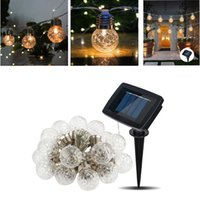 bola redonda jardín luces solares al por mayor-Bombilla Cadena piña 6M 20LED Solar Ronda luz de la bola LED de la batería de la decoración del jardín al aire libre fiesta de Navidad de la luz solar del USB