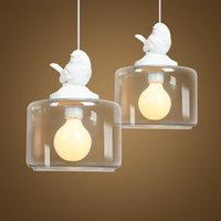 Wholesale shop bird resale online - Creative American glass chandelier one head bird led hanging lamp dinner room Restaurants shops Modern Creative Cafe