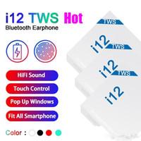 heißer verkauf bluetooth großhandel-2019 I12 Tws 5.0 Earbuds drahtloser Bluetooth-Kopfhörer Unterstützung Pop Up-Fenster Kopfhörer Bunt Touch Control Kopfhörer heißen Verkauf auf Lager