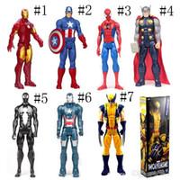 детские фигуры-пауки оптовых-Мстители ПВХ фигурки Marvel Heros 30 см Железный Человек-паук Капитан Америка Альтрон Росомаха рисунок игрушки