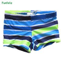 37e6c1fbeb694 Funfeliz Boys swimsuit 2-8 Years Children Swimwear Boy Swimming Trunks for  boy Cute Striped Kids Bathing suits