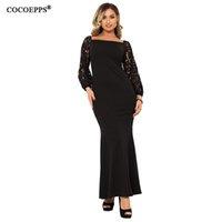 ingrosso grandi abiti da sera femminile-Mermaid Maxi Dress Big Size 5xl Vestito da donna Evening Lace Party Plus Size 6xl Long Black Large vestidos 2019