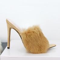 peles finas venda por atacado-2019 Moda de luxo novo doce cor de luxo pele de coelho sandálias de salto alto chinelos 8 -10 cm senhoras fino tamanho do salto alto 41-43