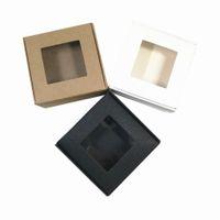 diy kağıt sanatları toptan satış-Katlanabilir Kraft Kağıt Paket Kutusu El Sanatları Sanat Saklama Kutuları Takı Karton Karton Ile DIY Sabun Hediye Paketleme Için Şeffaf pencere